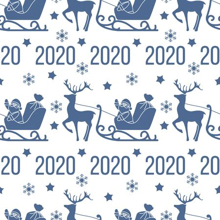 Happy New Year 2020, Merry Christmas seamless pattern. Vector illustration Santa Claus with bag of gifts rides in sleigh pulled by a deer. Design for fabric, print, wrapping paper.