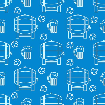 Festive seamless pattern with barrel, beer, mug, hop leaves. Beer party background. Munich Beer Festival Oktoberfest. Design for wrapping, fabric, print. Иллюстрация