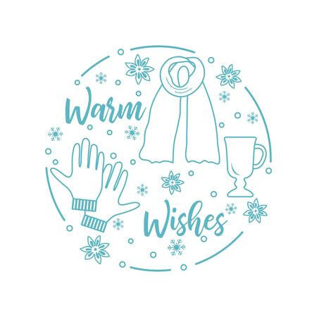 Happy new year 2020, Merry Christmas vector illustration. Scarf, snowflakes, mulled wine glass, gloves, warm wishes inscription. Design for wrapping, fabric, print.
