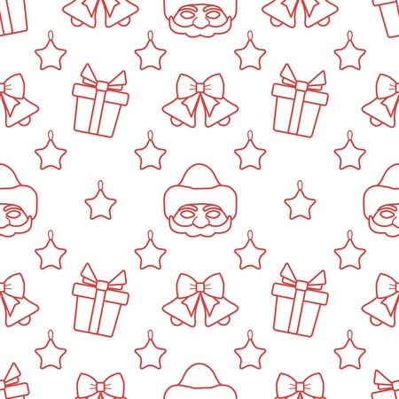 Happy new year 2020, Merry Christmas vector seamless pattern with Santa Claus mask, Christmas toy star, bells, gifts. Design for wrapping, fabric, print. 일러스트