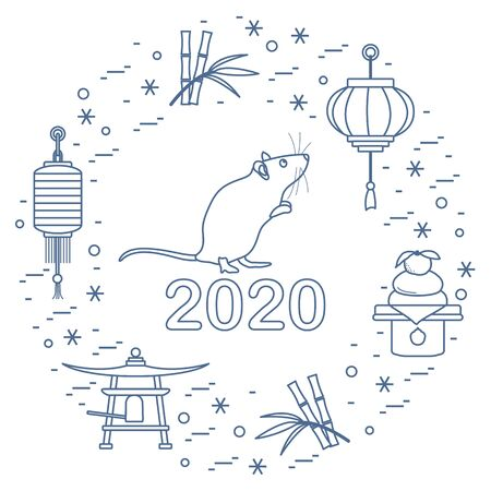 Happy new year. Vector illustration with 2020 year numbers, rat, lanterns, bell, mochi, bamboo, orange. Rat zodiac sign, symbol of 2020 on the Chinese calendar. Year of the rat. Chinese horoscope. 일러스트