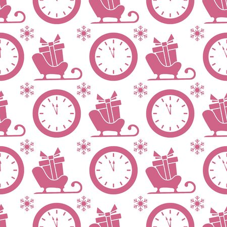 Happy new year 2020, Merry Christmas vector seamless pattern with Santas sleigh, gifts, watches, snowflakes. Design for wrapping, fabric, print.