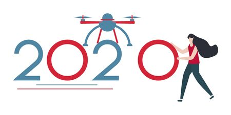 Vector illustration. Drone and people bring numbers for 2020. New year background. Design for web page, presentation, print.