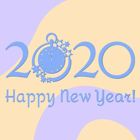 Happy new year. Vector illustration with 2020 year numbers, clock and stars. New year background. Design for postcard, banner, print.