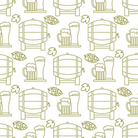 Festive seamless pattern with barrel, beer, mug, glass, hop cone, leaves. Beer party background. Munich Beer Festival Oktoberfest. Design for wrapping, fabric, print.