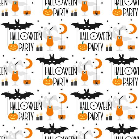 Halloween party 2020. Vector seamless pattern with inscription Halloween party, eye, glasses, pumpkin, spider, mask bat, candles, month, stars, ghost. Design for party card, wrapping, fabric, print Illusztráció