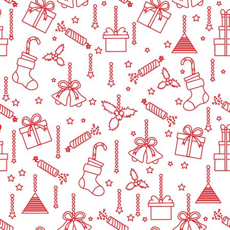 Happy new year 2020, Merry Christmas vector seamless pattern with mistletoe, bells, gifts, poppers, candy canes, Christmas sock. Design for wrapping, fabric, print.