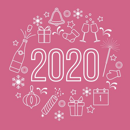 Happy New Year 2020 card. Gift boxes, bottle, glasses, Christmas sock, gingerbread bell, poppers, sparkler, mitten, calendar, snowflakes. Design for poster, party card, print.