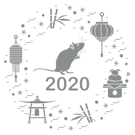 Happy new year. Vector illustration with 2020 year numbers, rat, lanterns, bell, mochi, bamboo, orange. Rat zodiac sign, symbol of 2020 on the Chinese calendar. Year of the rat. Chinese horoscope. Illusztráció