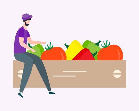 Vector illustration with people harvesting vegetables, boxes. Harvesting, agricultural work. Fall Harvest Fest design. Design for web page, presentation, print.