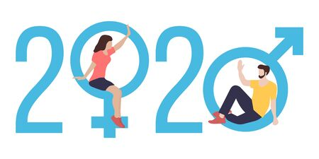 Happy new year vector illustration with 2020 year numbers, gender signs, seated man and woman waving each other in greeting. Design for web page, presentation, print.
