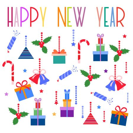 Happy new year 2020, Merry Christmas. Vector illustration with mistletoe, bells, gifts, poppers, candy canes. Design for poster, card, wrapping, fabric, print. 일러스트