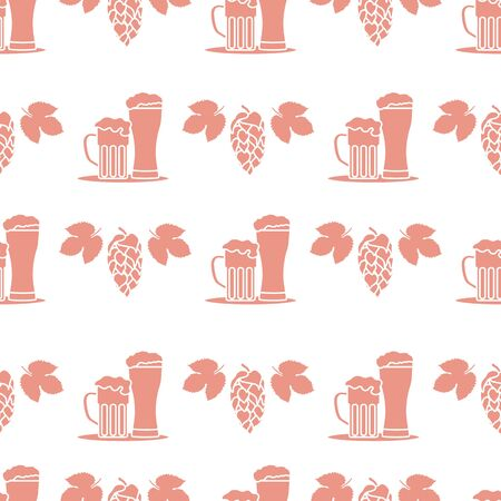 Festive seamless pattern with beer, mug, glass, hop cone, leaves. Beer party background. Munich Beer Festival Oktoberfest. Design for wrapping, fabric, print. Иллюстрация