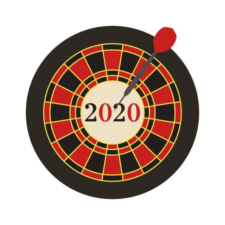 Vector illustration. 2020 target in the middle, dart hit the target. New year background. Design for web page, presentation, print.