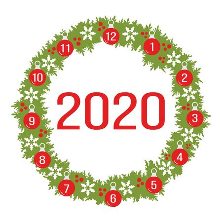 Happy New Year 2020, Merry Christmas vector illustration. Christmas wreath with fir branches, Christmas balls, snowflakes. Festive background. Design for print, postcard.