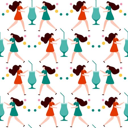 Festive seamless pattern. Vector illustration with man, cocktail in glass. Party concept. Happy New Year 2020, birthday. Design for fabric, print, wrapping paper. Çizim