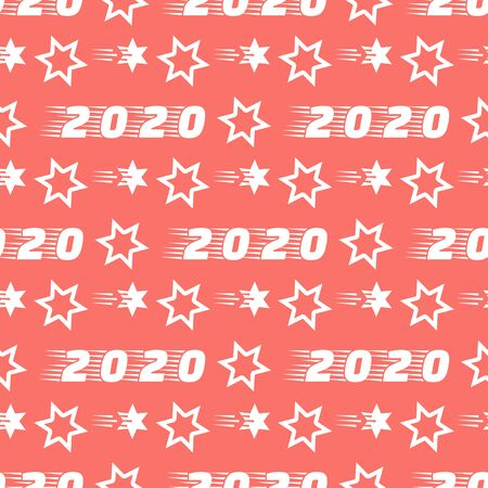 Happy New Year 2020, Merry Christmas seamless pattern. Vector illustration with stars and numbers 2020. Festive background. Design for packaging paper, fabric, print. Illusztráció