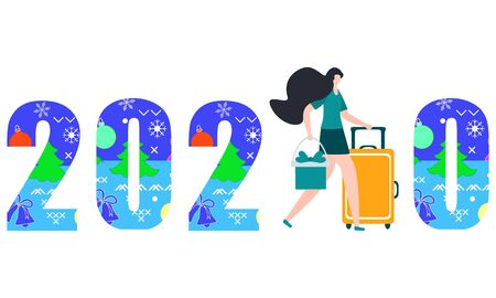 Happy New Year 2020, Merry Christmas vector illustration. Numbers 2020 decorated Christmas symbols, girl with gift and suitcase. Festive background. Design for web page, print, postcard.