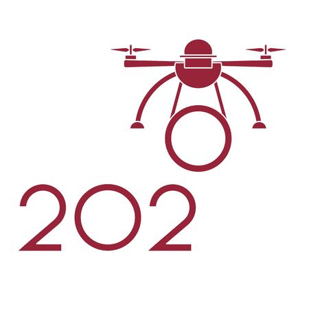 Happy New Year vector illustration with drone transfers numbers 2020. Design for poster, party card, print.