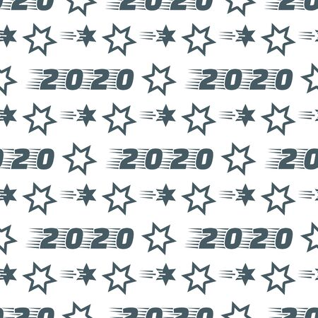 Happy New Year 2020, Merry Christmas seamless pattern. Vector illustration with stars and numbers 2020. Festive background. Design for packaging paper, fabric, print. 일러스트