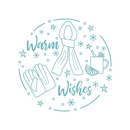 Happy new year 2020, Merry Christmas vector illustration. Scarf, snowflakes, cup of mulled wine, gloves, warm wishes inscription. Design for wrapping, fabric, print.