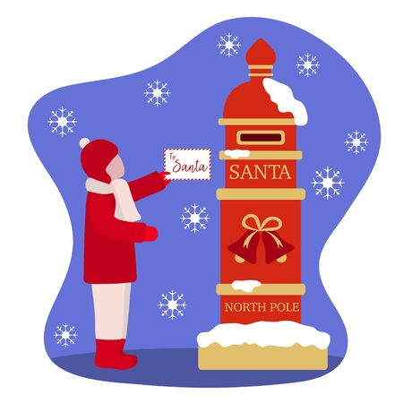 Happy New Year 2020, Merry Christmas vector illustration. Santa's mailbox, child carries a letter to Santa Claus. Mail wish list. Design for web page, presentation, print, postcard. 일러스트