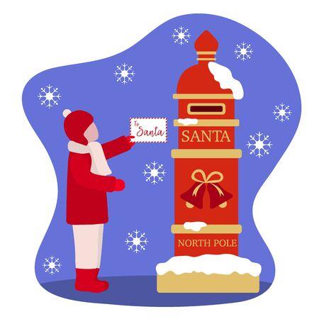 Happy New Year 2020, Merry Christmas vector illustration. Santa's mailbox, child carries a letter to Santa Claus. Mail wish list. Design for web page, presentation, print, postcard. Illusztráció