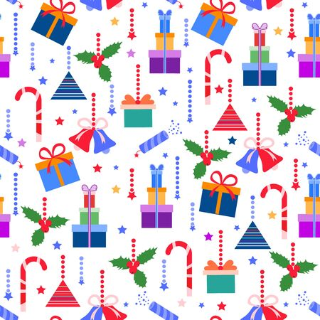 Happy new year 2020, Merry Christmas vector seamless pattern with mistletoe, bells, gifts, poppers, candy canes. Design for wrapping, fabric, print.