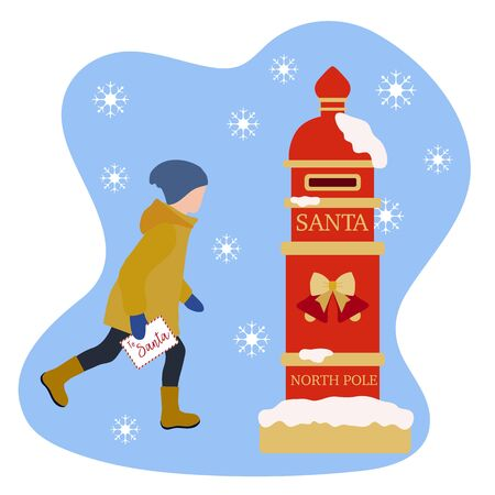 Happy New Year 2020, Merry Christmas vector illustration. Santa's mailbox, child carries a letter to Santa Claus. Mail wish list. Design for web page, presentation, print, postcard.