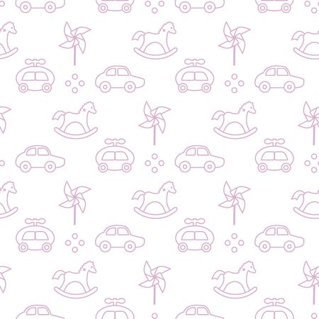 Vector seamless pattern with kids toys. Pinwheel, rocking horse, cars. Children background. Design for wrapping, fabric, print. Ilustração