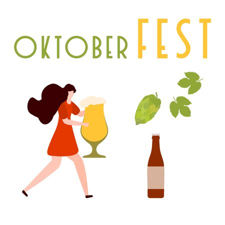 Festive vector illustration with girl, beer, beer glass, bottle, hop cone, leaves. Beer party concept. Munich Beer Festival Oktoberfest. Design for web page, presentation, print. Фото со стока - 129830580