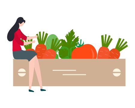 Vector illustration with people harvesting vegetables, boxes. Harvesting, agricultural work. Fall Harvest Fest design. Design for web page, presentation, print.