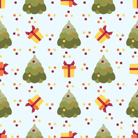 Happy new year 2020, Merry Christmas vector seamless pattern with Christmas tree, gift. Design for web page, presentation, print.