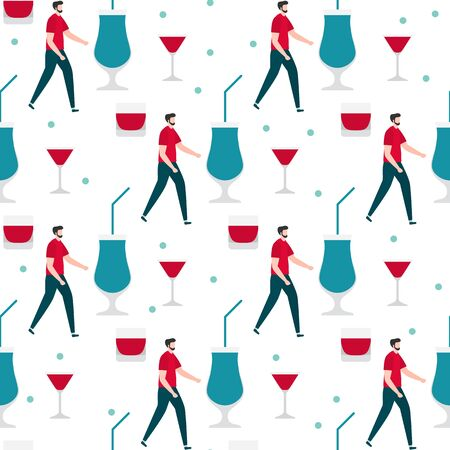 Festive seamless pattern. Vector illustration with man, glass. Party concept. Happy New Year 2020, birthday. Design for fabric, print, wrapping paper. 写真素材 - 129781742