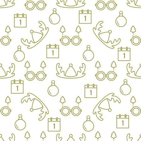 Happy new year 2020, Merry Christmas vector seamless pattern with deer horns, Christmas ball, calendar, glasses with Christmas trees. Masquerade Party Background. Design for wrapping, fabric, print.