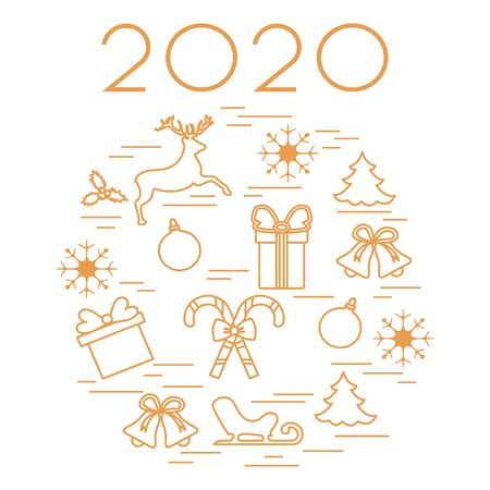 Happy New Year 2020, Merry Christmas vector illustration. Sleigh, deer, mistletoe, gift, snowflakes, striped sticks, Christmas tree, balls, bells. Design for fabric, print, postcard. Archivio Fotografico - 129830588