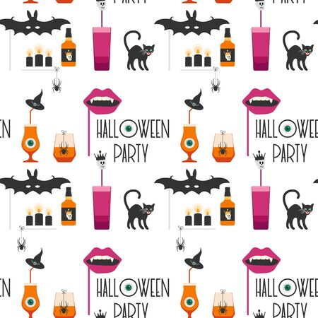 Halloween party 2020. Vector seamless pattern with inscription Halloween party, eye, glasses, spider, candles, cat, witch hat, bat, vampire mouth mask, skull. Design for party card, fabric, print