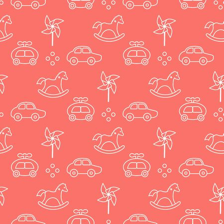 Vector seamless pattern with kids toys. Pinwheel, rocking horse, cars. Children background. Design for wrapping, fabric, print. Ilustrace