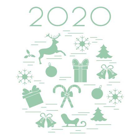 Happy New Year 2020, Merry Christmas vector illustration. Sleigh, deer, mistletoe, gift, snowflakes, striped sticks, Christmas tree, balls, bells. Design for fabric, print, postcard. Archivio Fotografico - 129830596