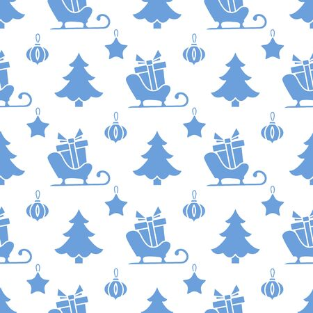 Happy new year 2020, Merry Christmas vector seamless pattern with Christmas tree, Santas sleigh, gifts, Christmas tree toys. Design for wrapping, fabric, print.