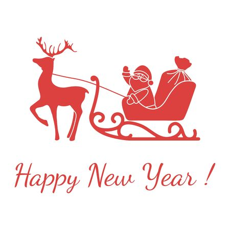 Happy New Year 2020, Merry Christmas vector illustration. Santa Claus with bag of gifts rides in sleigh pulled by a deer. Design for fabric, print, postcard. 스톡 콘텐츠 - 129830601