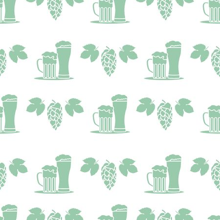 Festive seamless pattern with beer, mug, glass, hop cone, leaves. Beer party background. Munich Beer Festival Oktoberfest. Design for wrapping, fabric, print. Ilustração