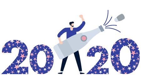 Happy New Year 2020, Merry Christmas vector illustration. Numbers 2020 decorated Christmas symbols, man with bottle of champagne. Festive background. Design for web page, print, postcard.