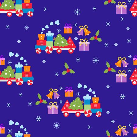 Happy new year 2020, Merry Christmas vector seamless pattern with train, bells, Christmas tree, gifts. Design for wrapping, fabric, print. Ilustração