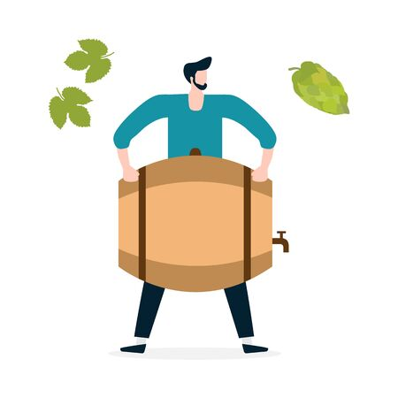 Festive vector illustration with man, beer, barrel, hop cone, leaves. Beer party concept. Munich Beer Festival Oktoberfest. Design for web page, presentation, print. Фото со стока - 129981363