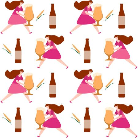 Festive seamless pattern. Vector illustration with people, beer, beer glass, mug, bottle, wheat. Beer party concept. Munich Beer Festival Oktoberfest. Design for fabric, print, wrapping paper.