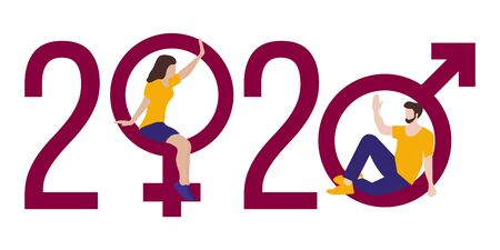 Happy new year vector illustration with 2020 year numbers, gender signs, seated man and woman waving each other in greeting. Design for web page, presentation, print. Foto de archivo - 130162056