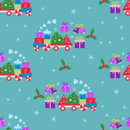 Happy new year 2020, Merry Christmas vector seamless pattern with train, bells, Christmas tree, gifts. Design for wrapping, fabric, print. Фото со стока - 130162134