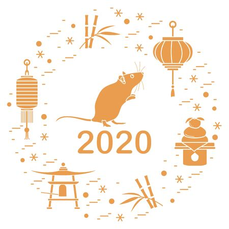 Happy new year. Vector illustration with 2020 year numbers, rat, lanterns, bell, mochi, bamboo, orange. Rat zodiac sign, symbol of 2020 on the Chinese calendar. Year of the rat. Chinese horoscope. Ilustração