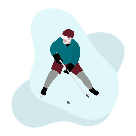 Hockey player with hockey stick, ice hockey puck on white background. Winter sports background. Man playing hockey. Tournament, championship, competition. Flat colorful vector illustration.